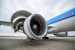 Maintenance of engine in an airplane Stock Photos