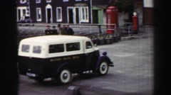 1952: A building view is seen from a car.ENGLAND Stock Footage