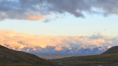 Sunset in the mountains. Plateau Kara-Say (3.800 m.) Kyrgyzstan. Time Lapse Stock Footage