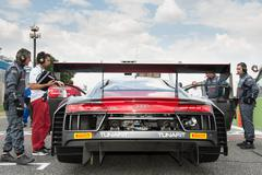 Vallelunga, Rome, Italy. September 10th 2016. Audi R8 backside and rear spoil Stock Photos