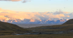 Sunset in the mountains. Plateau Kara-Say (3.800 m.) Kyrgyzstan. TimeLapse Stock Footage