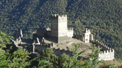 Saint-Denis, Aosta valley, Italy. View of medieval Castle ruins of Cly Stock Footage