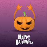 Pumpkin rock n roll style halloween greeting card Stock Illustration