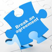 Law concept: Break An Agreement on puzzle background Stock Illustration