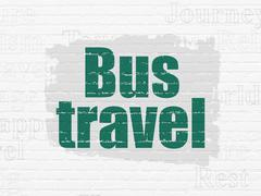 Vacation concept: Bus Travel on wall background Stock Illustration