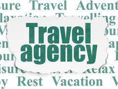 Tourism concept: Travel Agency on Torn Paper background Stock Illustration