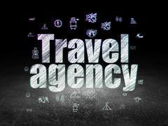 Vacation concept: Travel Agency in grunge dark room Stock Illustration