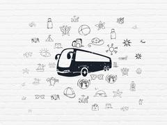 Travel concept: Bus on wall background Stock Illustration