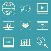 Set Of SEO, Marketing And Advertising Icons On Focus Group, Display Advertisi Stock Illustration
