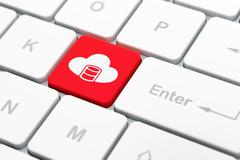 Programming concept: Database With Cloud on computer keyboard background Stock Illustration