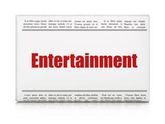 Entertainment, concept: newspaper headline Entertainment Stock Illustration