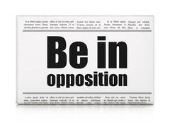 Politics concept: newspaper headline Be in Opposition Stock Illustration