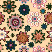Seamless flower retro pattern in vector. Green pink flowers on beige background Stock Illustration