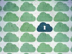 Cloud networking concept: cloud with keyhole icon on Digital Data Paper Stock Illustration
