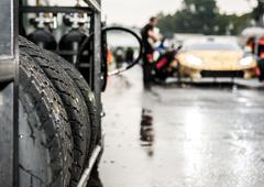 Vallelunga, Rome, Italy. September 10th 2016. Wet racing tire set Stock Photos