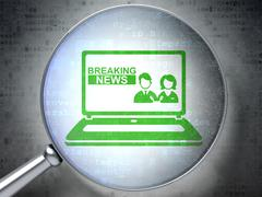 News concept: Breaking News On Laptop with optical glass on digital background Piirros