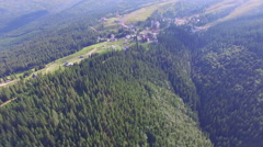 The village at the top of the mountains. air video Stock Footage