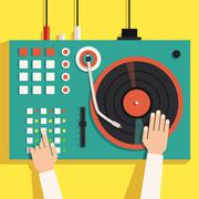 Turntable with dj hands. Vector flat illustration Stock Illustration