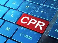 Medicine concept: CPR on computer keyboard background Stock Illustration