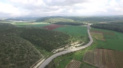 Elah Valley- Agriculture fields and highway overview (Israel aerial footage) Stock Footage