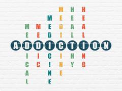 Healthcare concept: Addiction in Crossword Puzzle Stock Illustration
