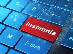 Healthcare concept: Insomnia on computer keyboard background Stock Illustration