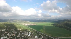 Elah Valley - Agriculture fields and forest overview (Israel aerial footage) Stock Footage