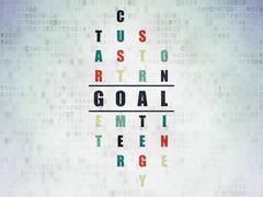 Advertising concept: Goal in Crossword Puzzle Piirros