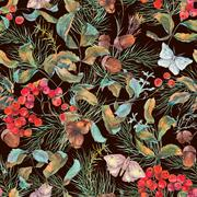 Autumn seamless pattern with branches of rowan Stock Illustration