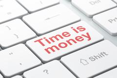 Finance concept: Time is Money on computer keyboard background Stock Illustration