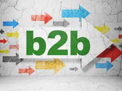 Business concept: arrow with B2b on grunge wall background Stock Illustration