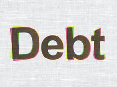 Finance concept: Debt on fabric texture background Stock Illustration