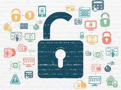 Privacy concept: Opened Padlock on wall background Stock Illustration