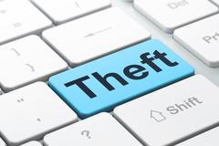 Privacy concept: Theft on computer keyboard background Stock Illustration