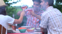 People having drinks outdoors talking and toasting wine glasses Stock Footage