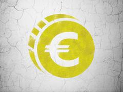 Currency concept: Euro Coin on wall background Piirros