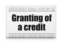 Banking concept: newspaper headline Granting of A credit Stock Illustration