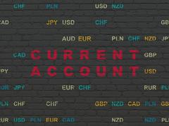 Money concept: Current Account on wall background Stock Illustration