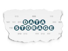 Data concept: Data Storage on Torn Paper background Stock Illustration