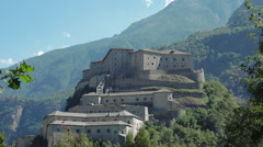 Bard, Aosta valley, Italy. View of fortified ancient complex Fort Bard Stock Footage