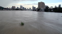 Boat driving time lapse on Chao Phraya river in Bangkok Stock Footage