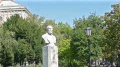 The bust of August Šenoa Stock Footage