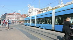 Trg Josipa Jelacica in the center of Zagreb Stock Footage