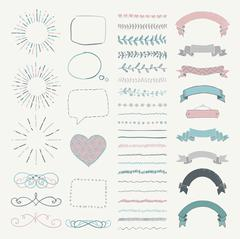 Set of Vector Decorative Hand Drawn Design Elements Stock Illustration