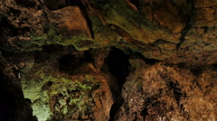 Cuevas de los Verdes-rock wall in a  ancient cave Stock Footage