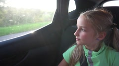 Girl moving in car Stock Footage