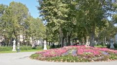 Flowery flowerbed in the park Zrinjevac Stock Footage