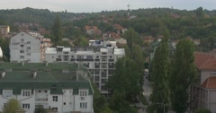 Panorama / cityscape of Nis, hilly town in Serbia Stock Footage