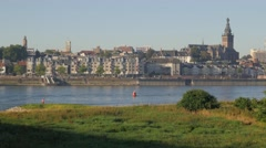 Old city along Waal river,Nijmegen,Netherlands Stock Footage