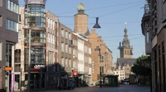 Historical buildings in old town,Nijmegen,Netherlands Stock Footage